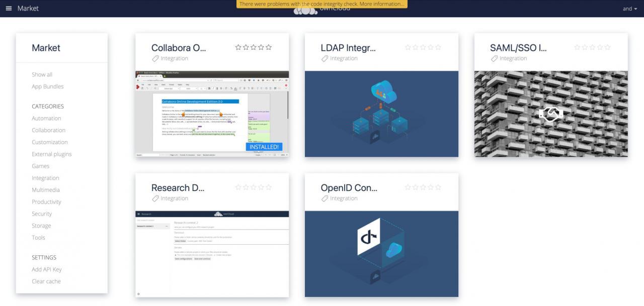 ownCloud после установки