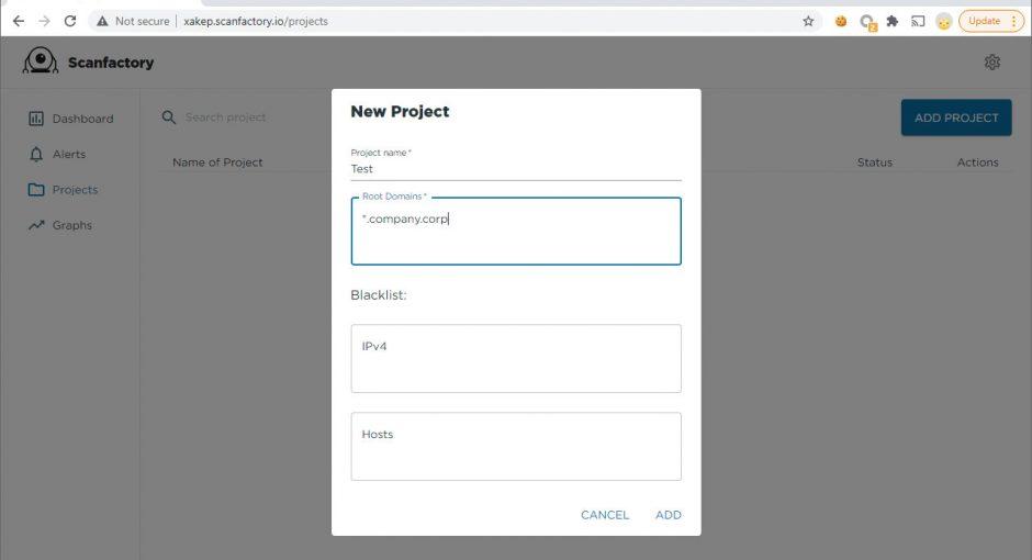 Создание нового проекта в ScanFactory