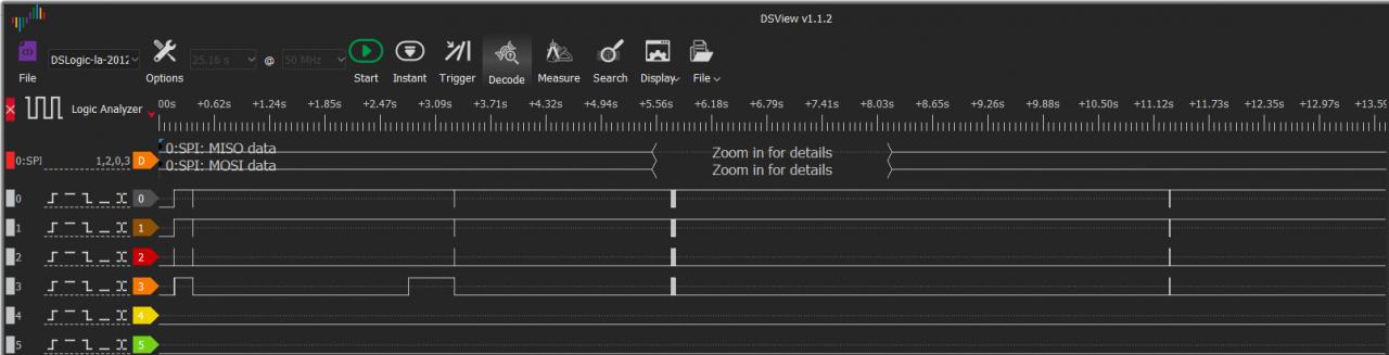 Здесь уже использую более скоростной анализатор DSLogic