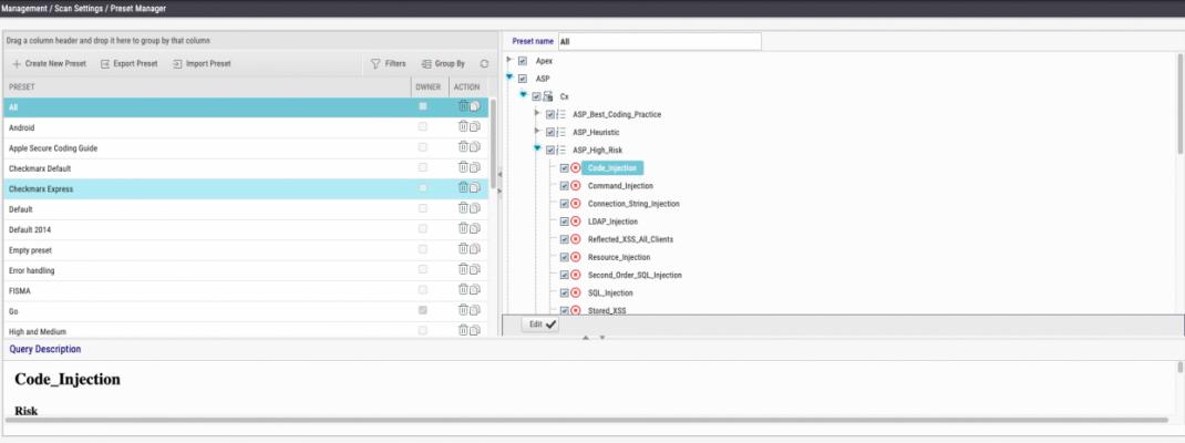 Настройка Preset в интерфейсе Checkmarx Справочник команд и примеров по Checkmarx
