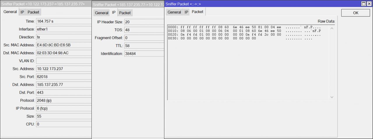 параметры трафика и даже содержимое пакета.