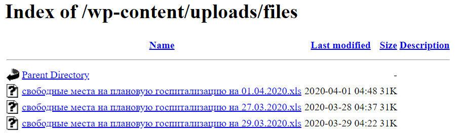 Содержимое папки /uploads/files/ одной государственной больнички