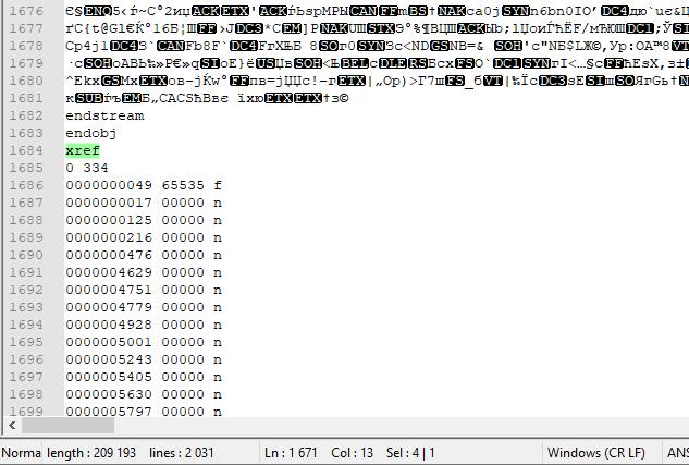 Пример таблицы перекрестных ссылок