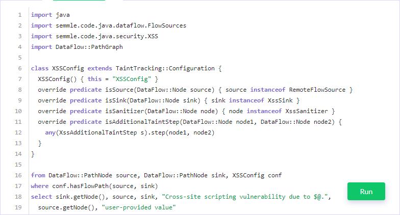 Запрос CodeQL, обнаруживающий XSS путём отслеживания путей недоверенных данных