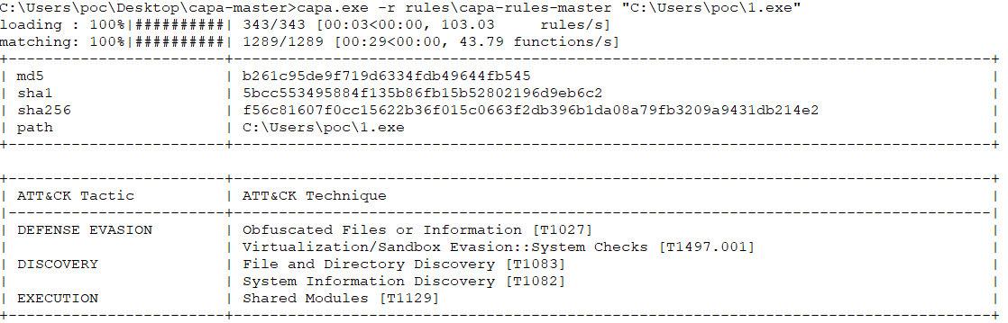 Пример анализа с помощью правил САРА файла 1.exe