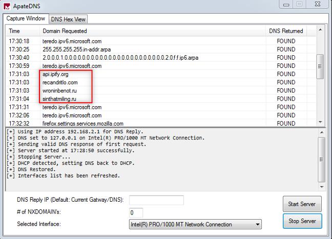 DNS-запросы домена C&C, зарегистрированные Apate DNS