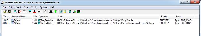 Изменения в реестре, зафиксированные Process Monitor