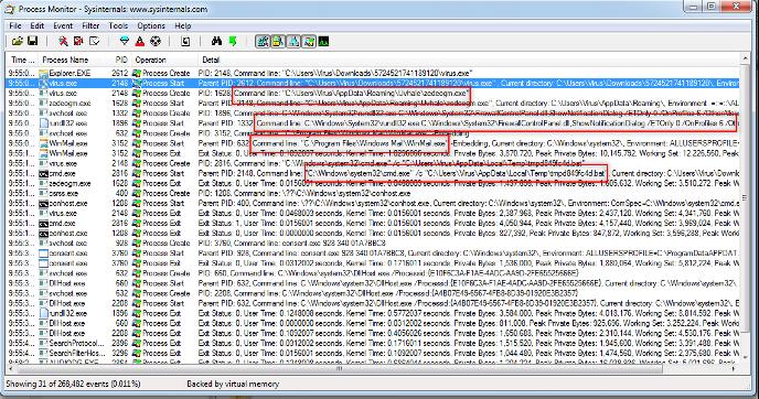 Компонент Process Monitor зарегистрировал изменения в системе, внесенные virus.exe