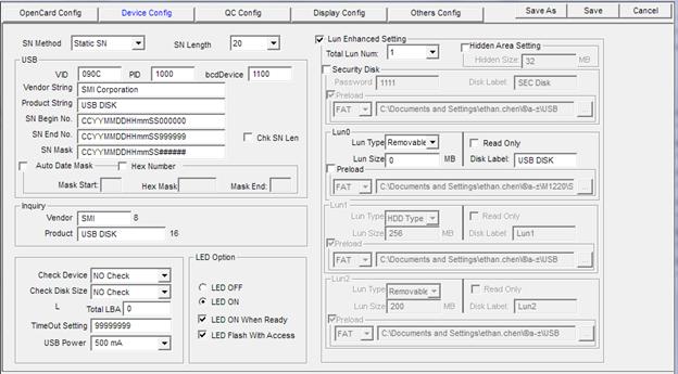 Исходные параметры флешки в Dyna Mass Storage Production Tool