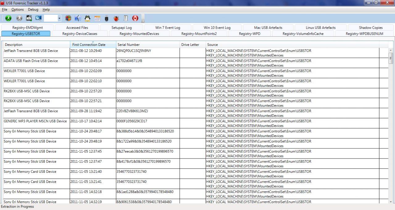 Пример вывода программы USB Forensic Tracker