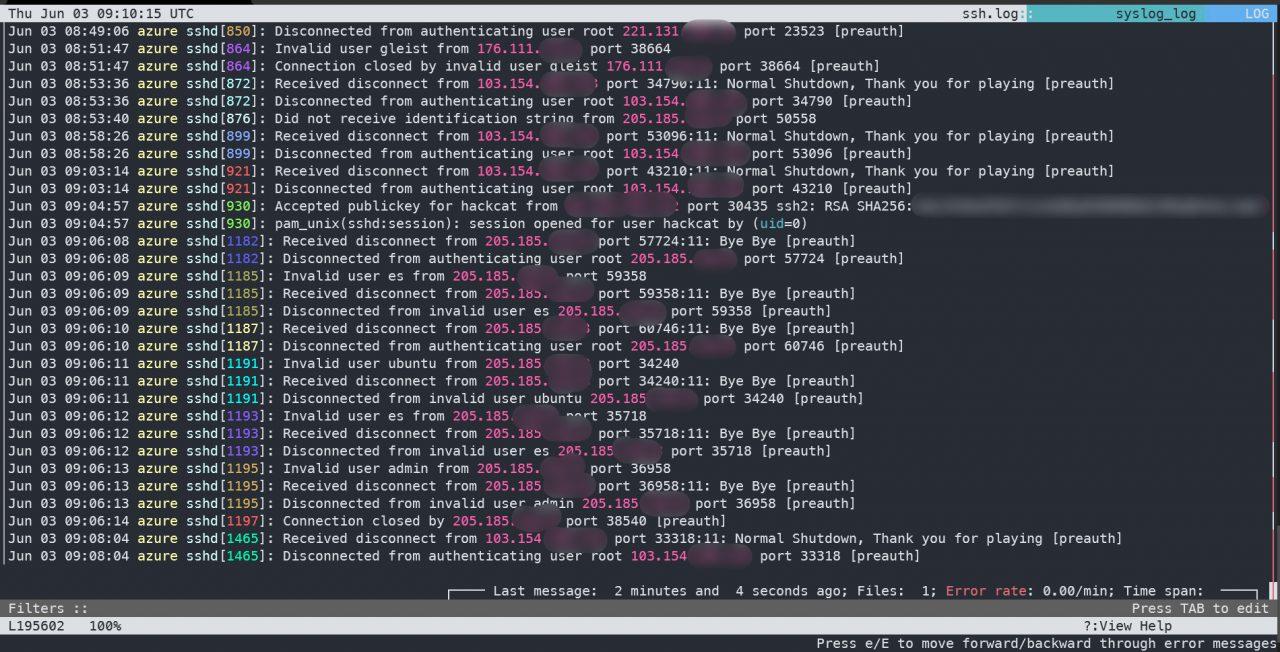 lnav разбирает логи sshd   Утилиты для работы с командной строкой Linux