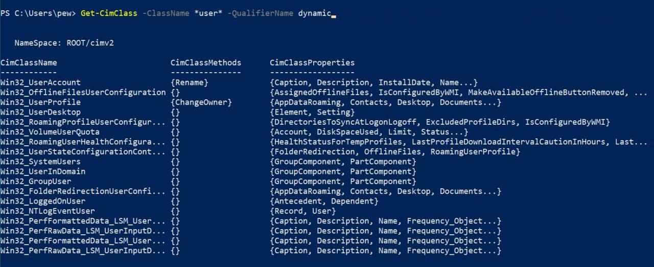 dynamicclasses  Наступательный WMI - Изучение пространств имен, классов и методов