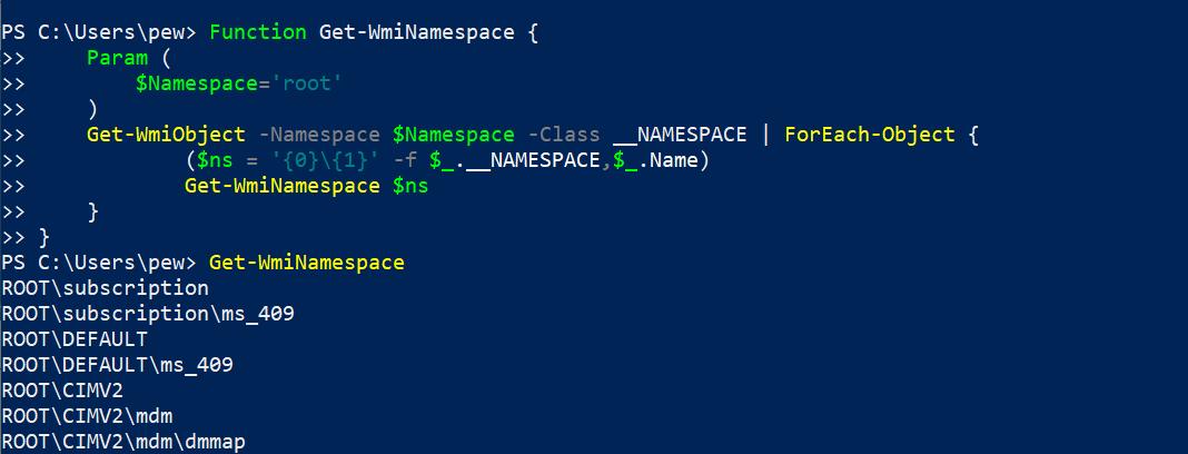 namespace  Наступательный WMI - Изучение пространств имен, классов и методов