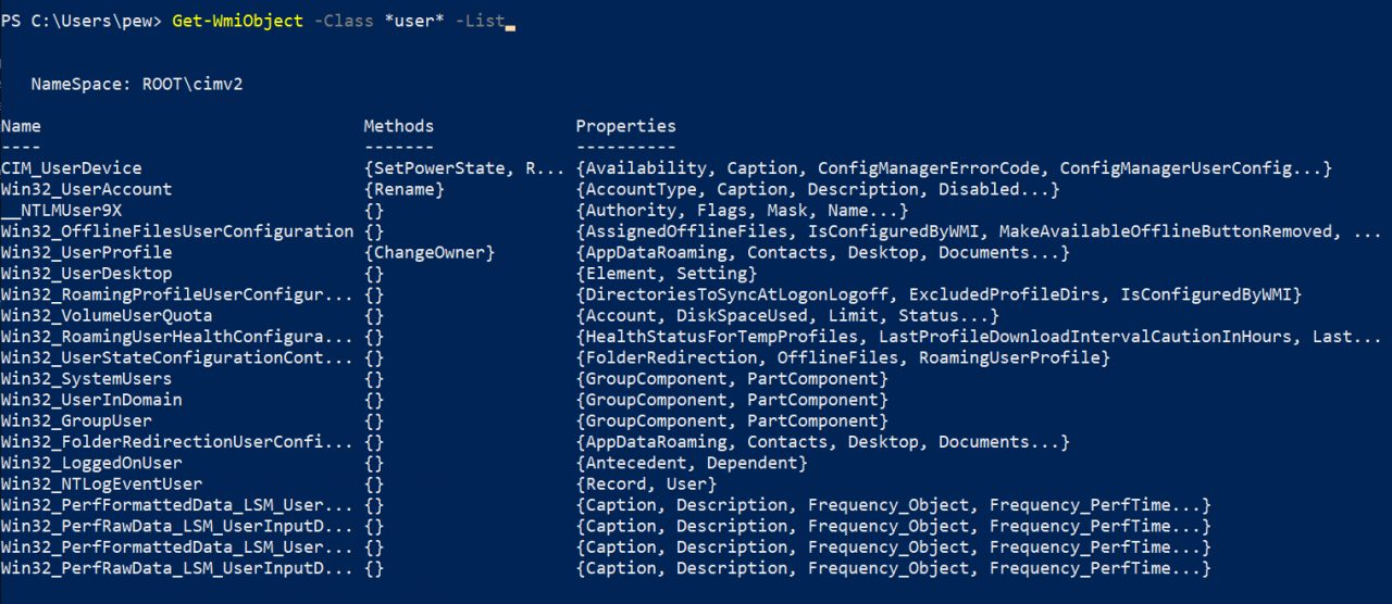 wmiclasses  Наступательный WMI - Изучение пространств имен, классов и методов